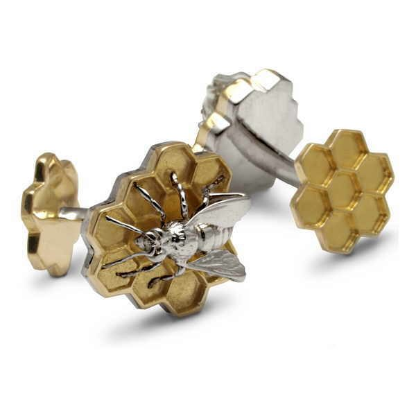 Silver and gold bee cufflinks