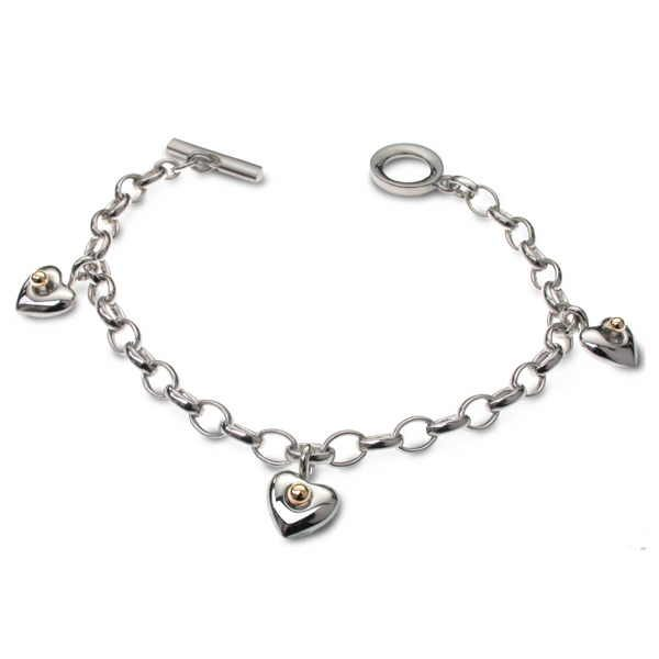 silver heart charm bracelet with gold detail