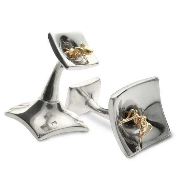 Double ant cufflinks in silver and gold