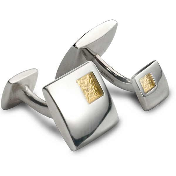 Square gold and silver cufflinks