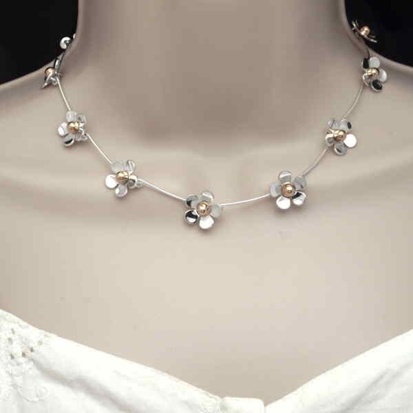 daisy chain necklace on neck