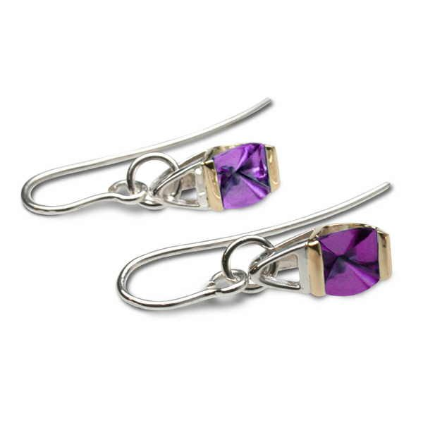 amethyst silver and gold drop earrings