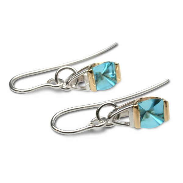 Blue topaz silver and gold drop earrings