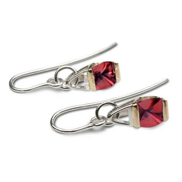 Garnet silver and gold drop earrings