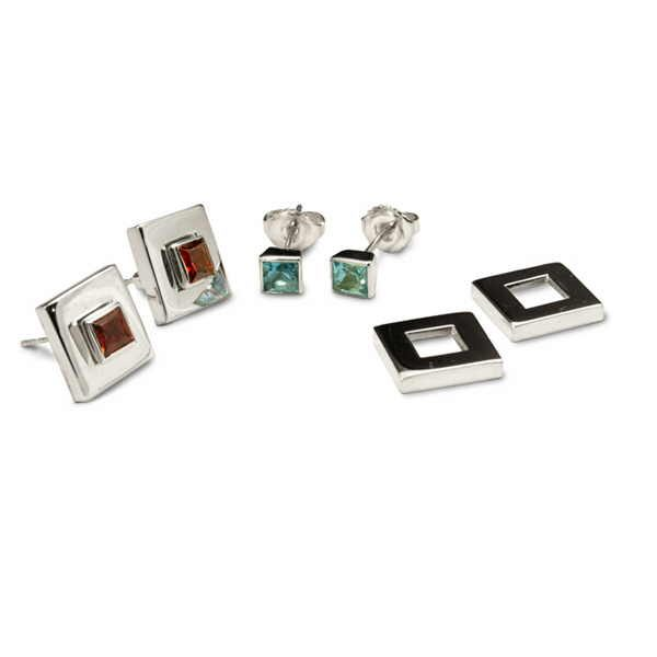 Deco squares earrings in silver and gem stones