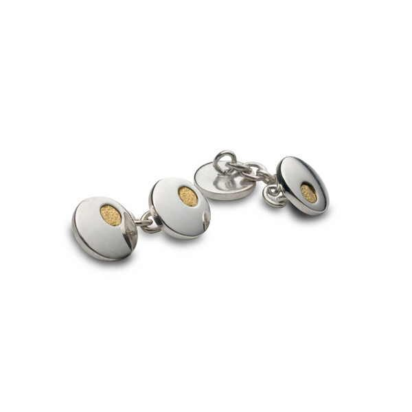 Ladies round cufflinks in silver and gold