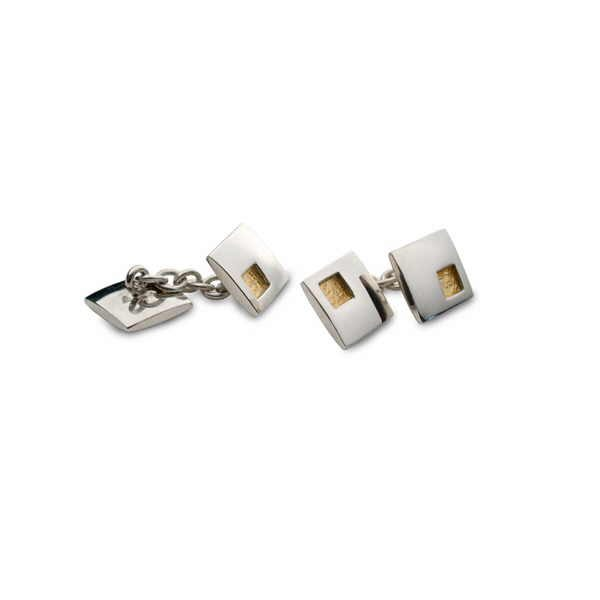 Ladies square cufflinks in silver and gold