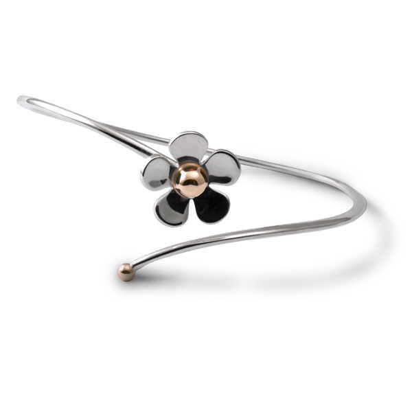 fine daisy torque bangle in silver and gold