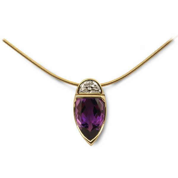 Unusual Moonrise pendant in gold with amethyst and half moon diamond