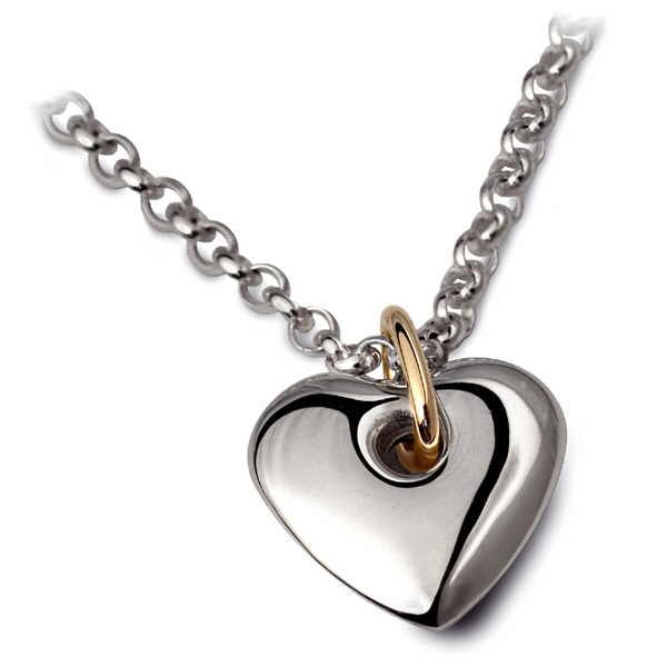 Heavy heart pendant in silver with gold detail