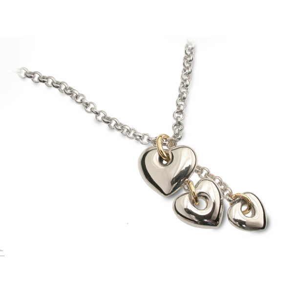 Heart cascade pendant with three silver hearts