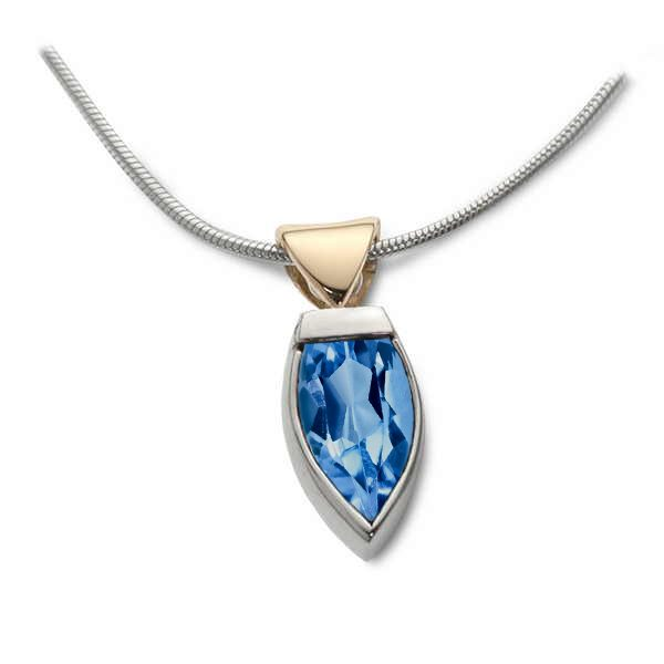flame pendant in silver, gold and blue topaz