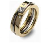 Gold and diamond three part princess ring