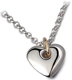 Heavy silver and gold heart necklace