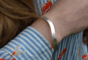 Silver river on wrist