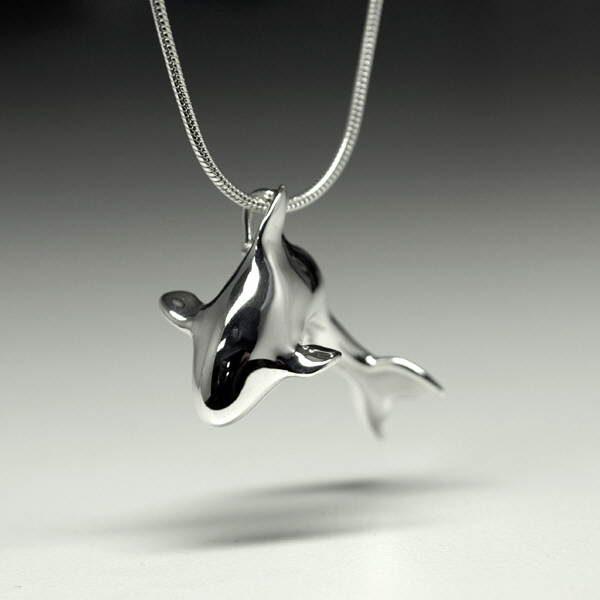 Silver orca pendant