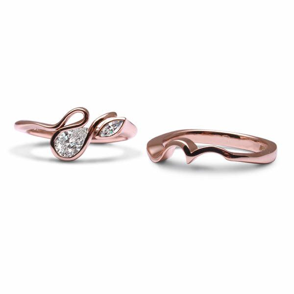 Rose gold calypso with wedding ring