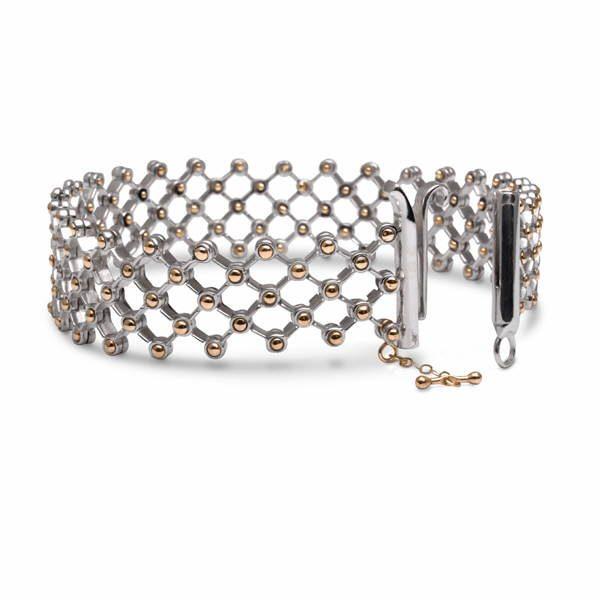 Flex bracelet in Argentium and gold