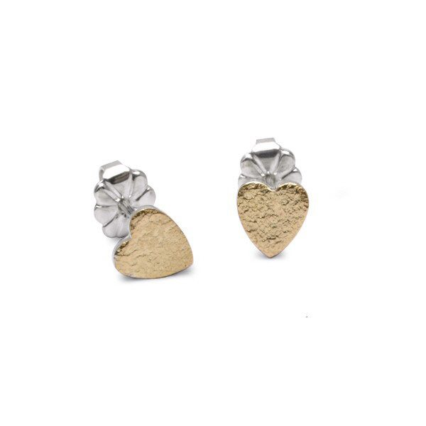 Gold reticulated heart earrings