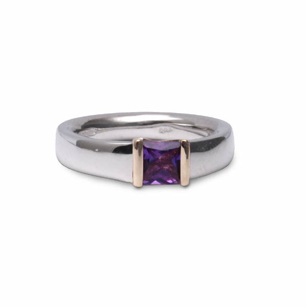 Silver and gold amethyst princess ring