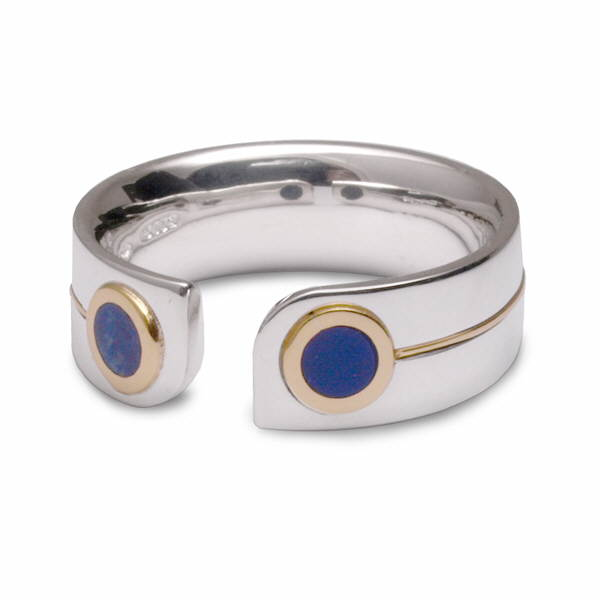 Silver and gold lapis ring