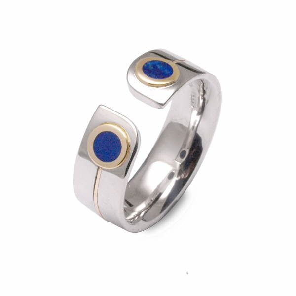 Unusual silver and gold lapis ring