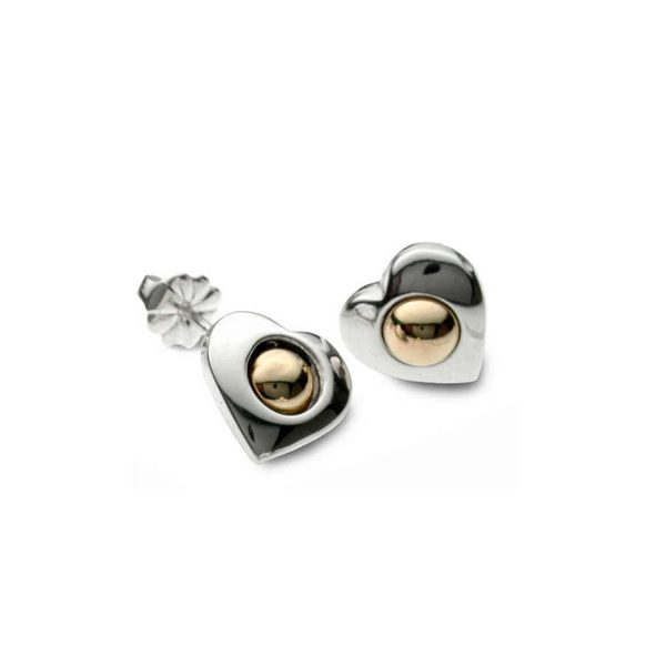 Silver heart earring studs with gold beads