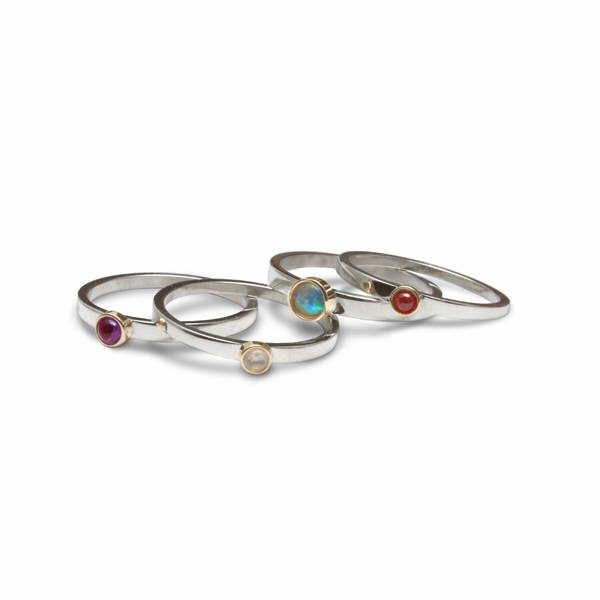 Gem set stacking rings in silver and gold