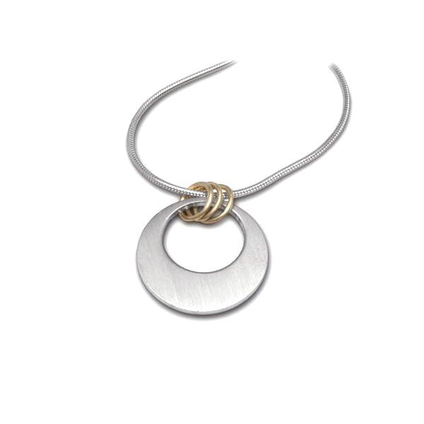 Bespoke silver and 18ct gold pendant