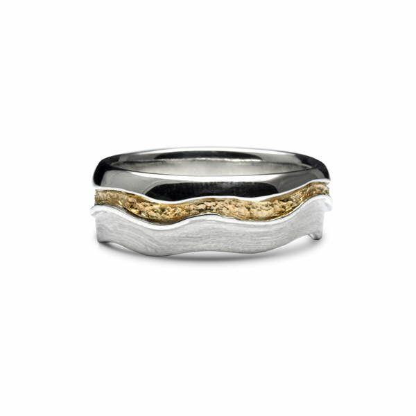 Golden river ring in silver and 18ct gold