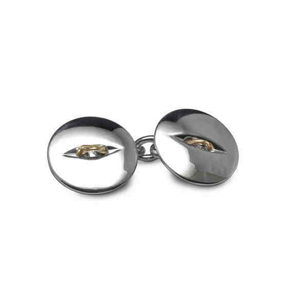 Double silver button cufflinks with gold threads