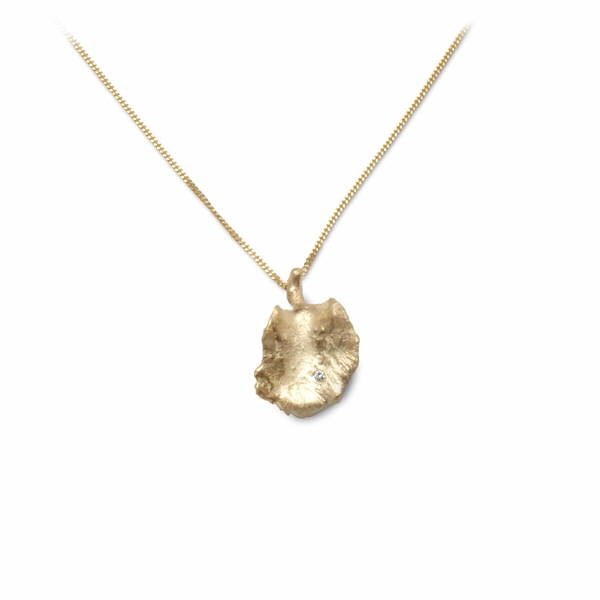 18ct gold and diamond leaf pendant