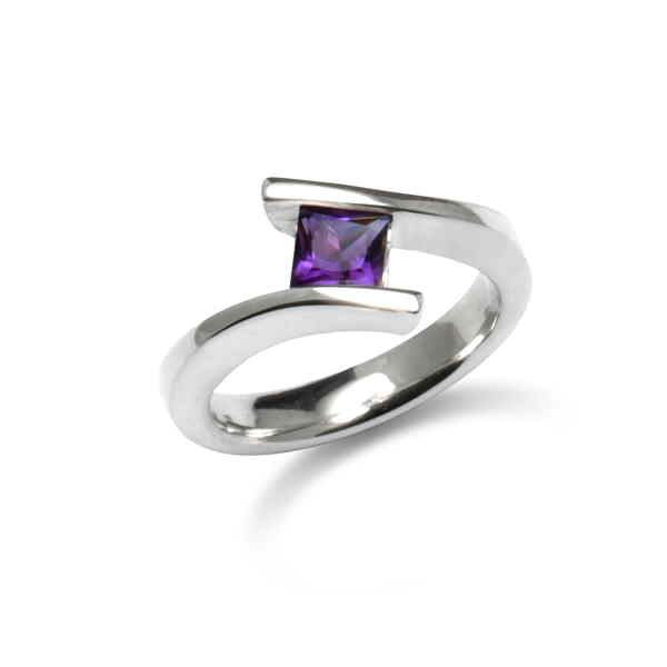 Silver princess gem stone ring