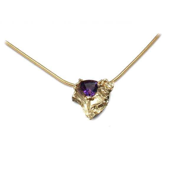 Organic 18ct gold and amethyst necklace
