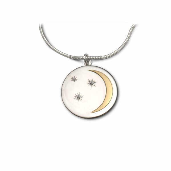 Moon and stars pendant in silver and 18ct gold